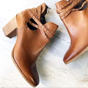 NEW FRYE NAOMI PICKSTITCH WHISKEY LEATHER SHOOTIES